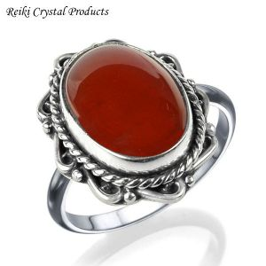 92.5 Silver Carnelian Gemstone Adjustable Ring