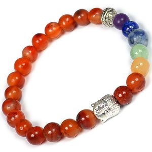 Carnelian & 7 Chakra Buddha Head Combination 8 mm Bead Bracelet