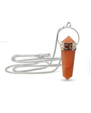Carnelian Double Terminated Pencil Pendant With Silver Polished Metal Chain