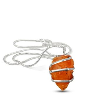 Carnelian Natural Wire Wrapped Pendant with Silver Metal Polished Chain