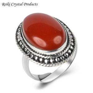 92.5 Silver Ring Carnelian Gemstone Adjustable Ring for Unisex (Color : Red)