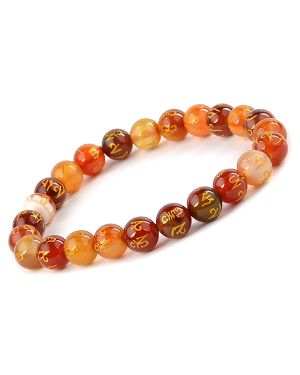Red Onyx Om Mani Padme Hum Engraved 8 mm Beads Bracelet