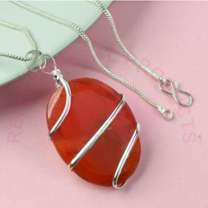 Carnelian Oval Wire Wrapped Pendant with Silver Polished Chain