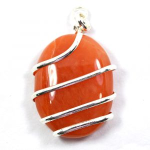 Carnelian Oval Wire Wrapped Pendant