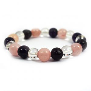 Mind Body Soul Amethyst Rose Quartz Clear Quartz Combination 10 mm Round Bead Bracelet