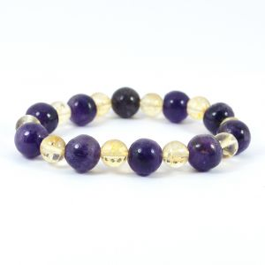 Citrine with Amethyst Combination 8 mm Bead Bracelet for Wealth