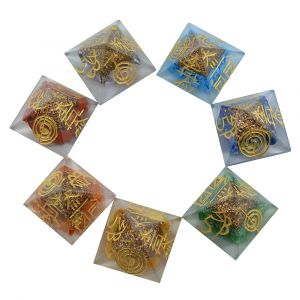 Chakra Pyramids Reiki Symbol Engraved set 25 mm - Orgone (7pcs)
