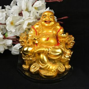 Sitting Laughing Buddha with Coins & Potli for Wealth