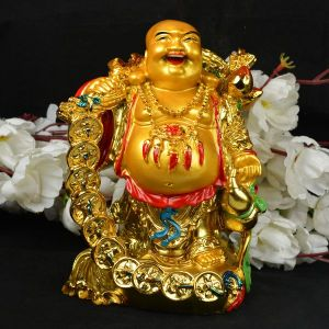 Standing Laughing Buddha with Coins & Potli for Wealth
