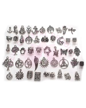 Mixed Metal Hanging Charm and Pendants - 50 Pc (Color : Silver)
