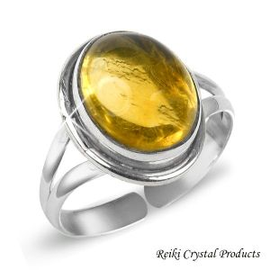 92.5 Silver Ring Citrine Gemstone Adjustable Ring for Unisex (Color : Yellow)