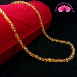 Citrine 6 mm Diamond Cut Beads Mala & Necklace ( 108 Beads, 26 Inch  Approx)