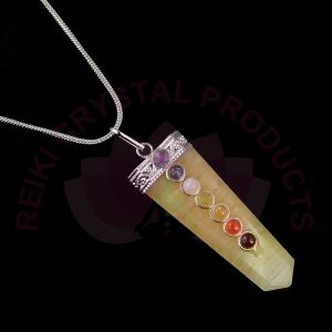 Citrine 7 chakra Beads Crystal Stone Pendant With Silver Polished Metal Chain