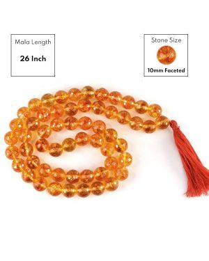 Citrine 10 mm Faceted Bead Mala