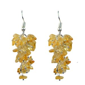 Citrine Crystal Earrings Natural Chip Beads Earrings for Women, Girls (Color :Yellow)