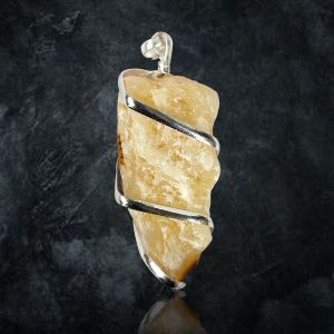 Citrine Natural Wire Wrapped Pendant with Silver Polished Chain