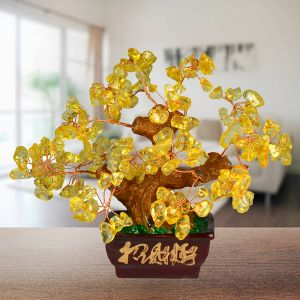 Reiki Crystal Products Feng Shui Natural Citrine Tree Place for Wealth (Color : Yellow)