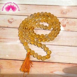 Citrine 8 mm Diamond Cut Mala & Necklace