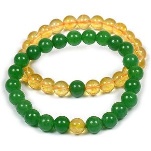 Citrine with Green Aventurine Couple Combo Bracelet Pack of 2 pc