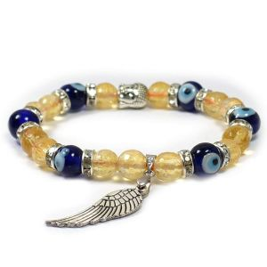 Citrine with Evil Eye 8 mm Faceted Bead Buddha Head and Angel Feather Charm Bracelet
