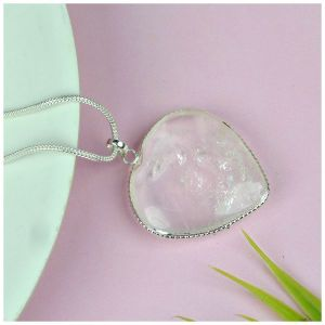 Clear Quartz Heart Shape Pendant Size 30-35 mm with Metal Silver Polished Chain