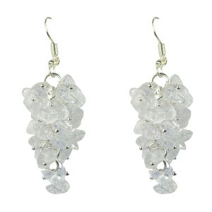 Clear quartz Crystal Earrings Natural Chip Beads Earrings for Women, Girls (Color :Clear)