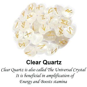 Clear Quartz Rune Set 25 Pc