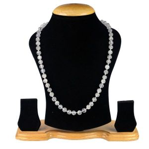 Clear Quartz 8 mm Round Bead Mala & Necklace (108 Beads & 32 Inch Approx)