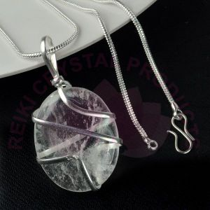 Clear Quartz Oval Wire Wrapped Pendant with Silver Polished Chain