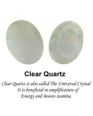 Clear Quartz Worry -Palm Stone Oval Shape Cabochons Pack of 2 pc