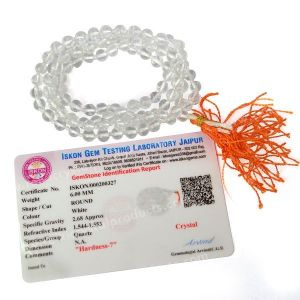 Certified Clear Quartz 6 mm 108 Round Bead Mala with Certificate