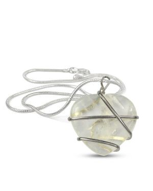 Clear Quartz Heart Wire Wrapped Pendant With Chain