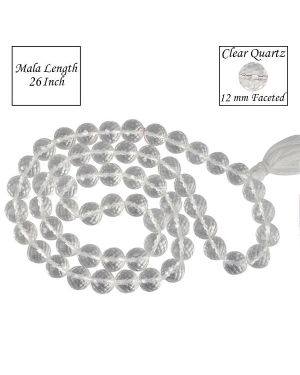 AAA Clear Quartz 12 mm Faceted Bead Mala