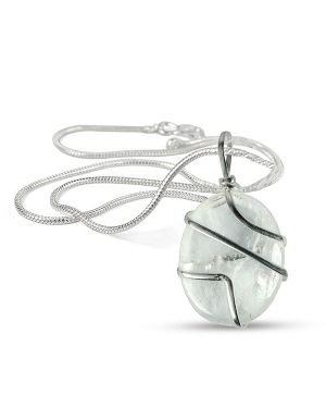Clear Quartz Oval Wire Wrapped Pendant with Chain