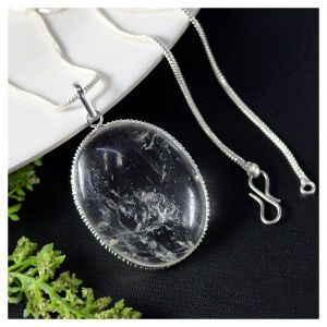Clear Quartz Oval Shape Pendant with Chain