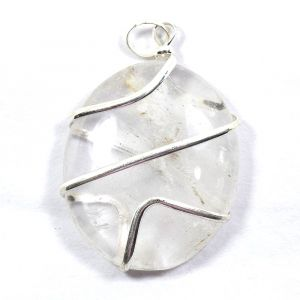 Clear Quartz Oval Wire Wrapped Pendant