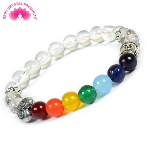 Clear Quartz With7 Chakra With Buddha Head Combination Bracelet
