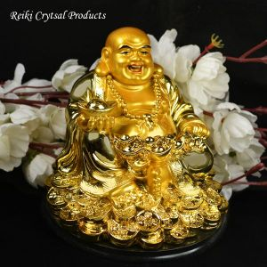 Sitting Laughing Buddha with Sitting Laughing Buddha with Coins & Potli for Wealth