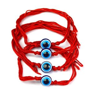 Evil Eye Wrist Band With Red Thread Protection, Negativity Band Pack of 4 pc