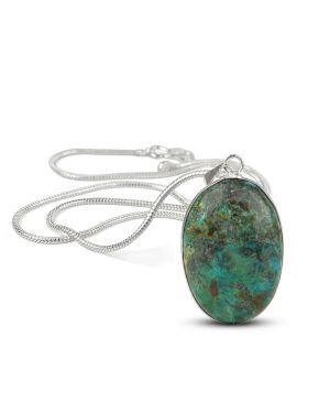 AAA Quality Chrysocolla Oval Pendant With Silver Polished Metal Chain