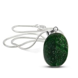Green Aventurine Oval Shape Pendant with Metal Silver Polished Chain