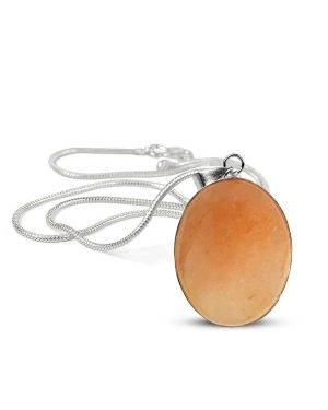 Citrine Oval Shape Pendant with Chain