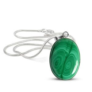 Malachite Synthetic Oval Shape Pendant with Metal Silver Polished Chain