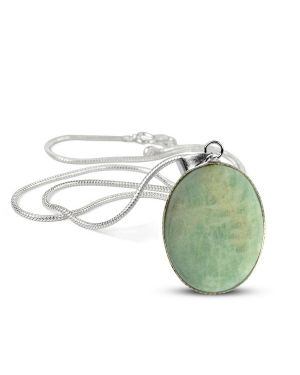 Amazonite Oval Shape Pendant with Chain