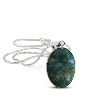 Moss Agate Oval Shape Pendant with Metal Silver Polished Chain