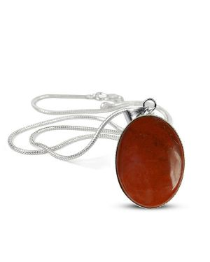 Red Jasper Oval Shape Pendant with Metal Silver Polished Chain