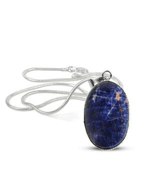 Sodalite Oval Shape Pendant with Metal Silver Polished Chain
