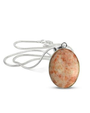 Sunstone Oval Shape Pendant with Metal Silver Polished Chain