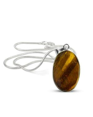 Tiger Eye Oval Shape Pendant with Metal Silver Polished Chain