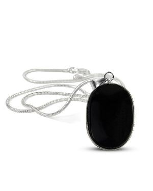Black Agate Oval Shape Pendant with Metal Silver Polished Chain